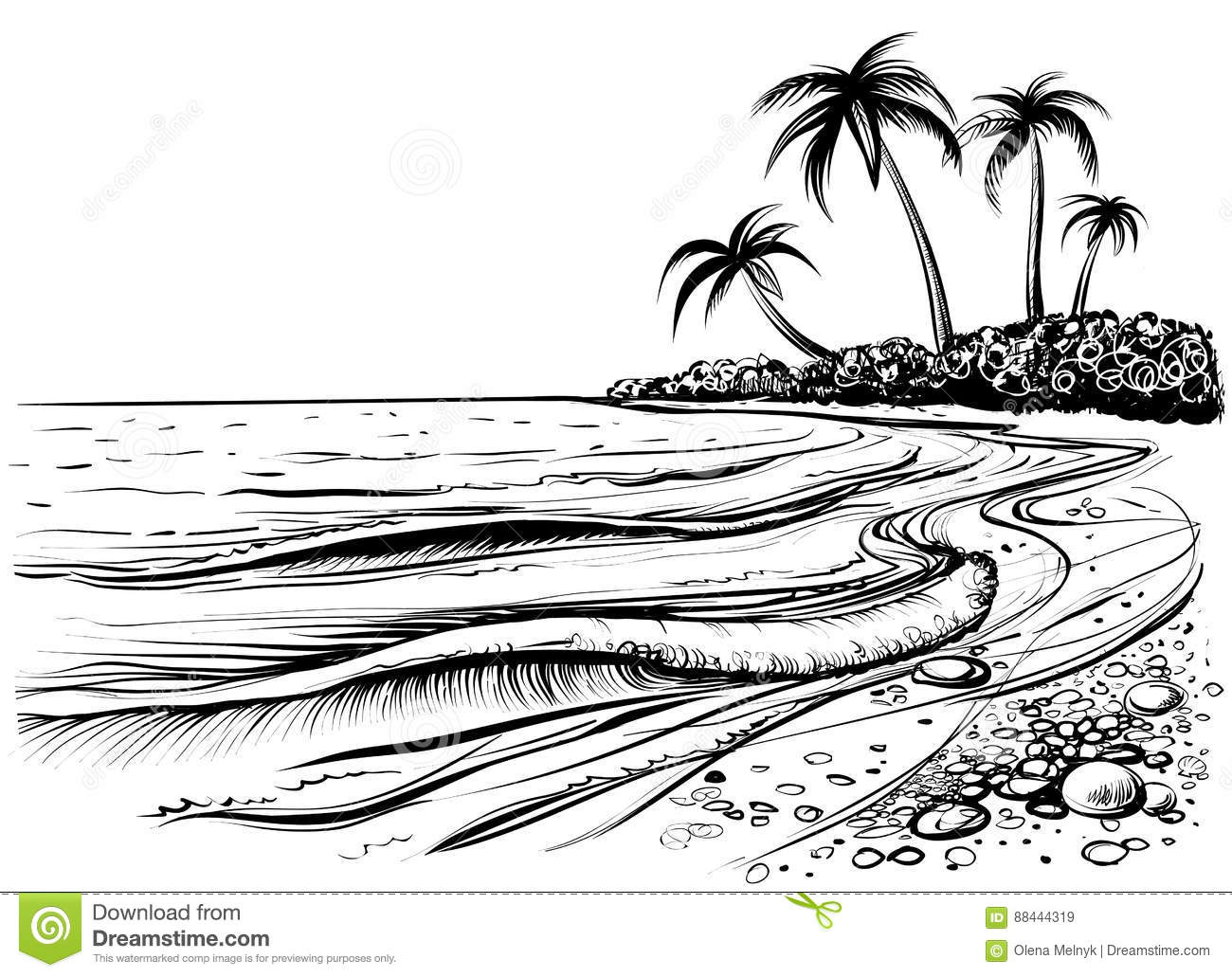 Ocean Or Sea Beach With Palms And Waves, Sketch  Black And White