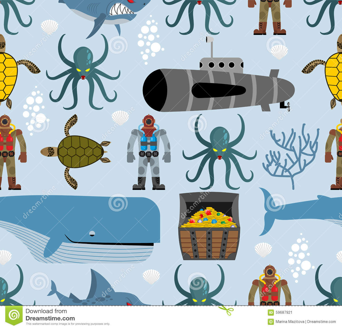 Ocean seamless pattern. Marine life: whale and turtle. Octopus a