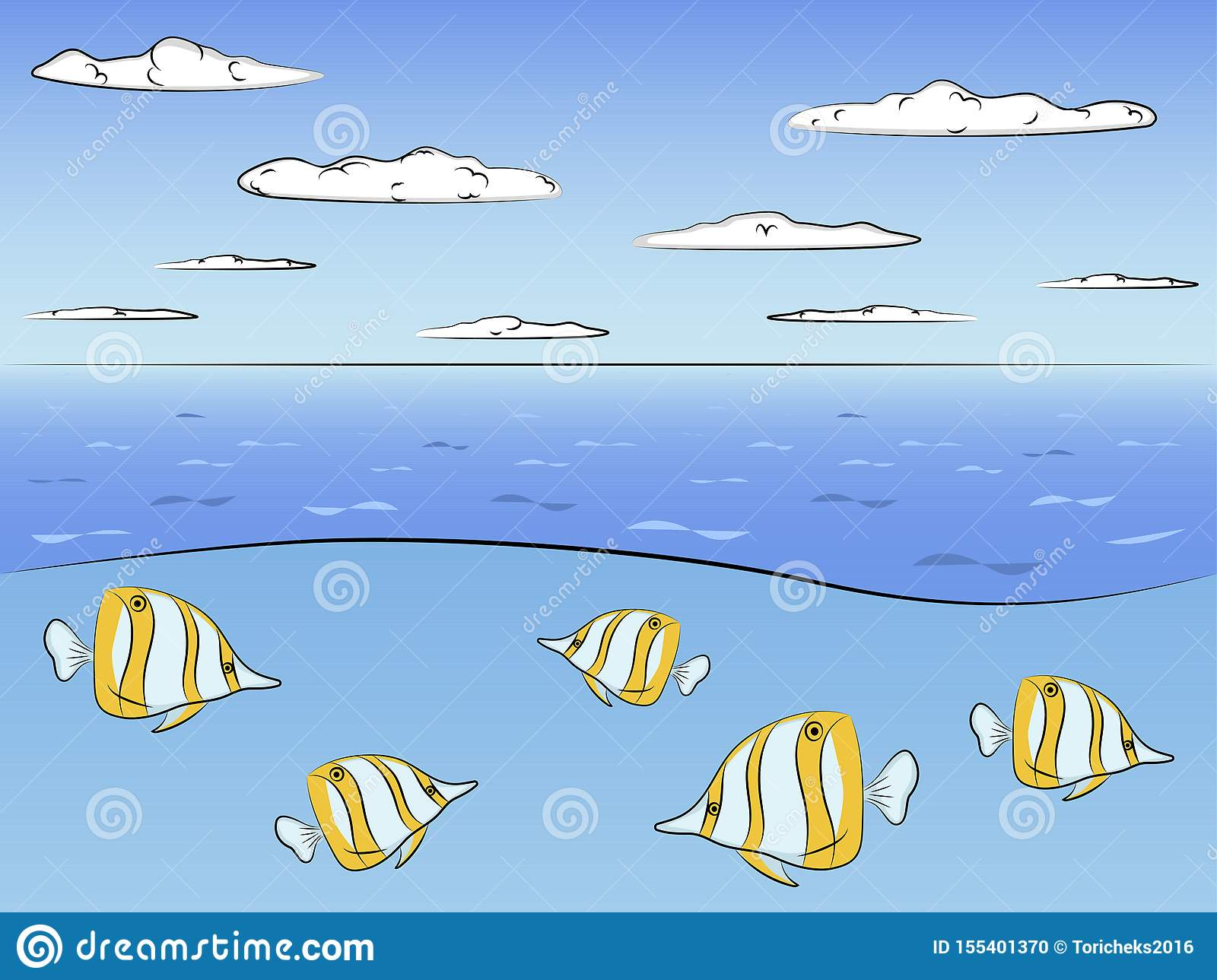 Ocean in the section. Fish Evistias. Raster
