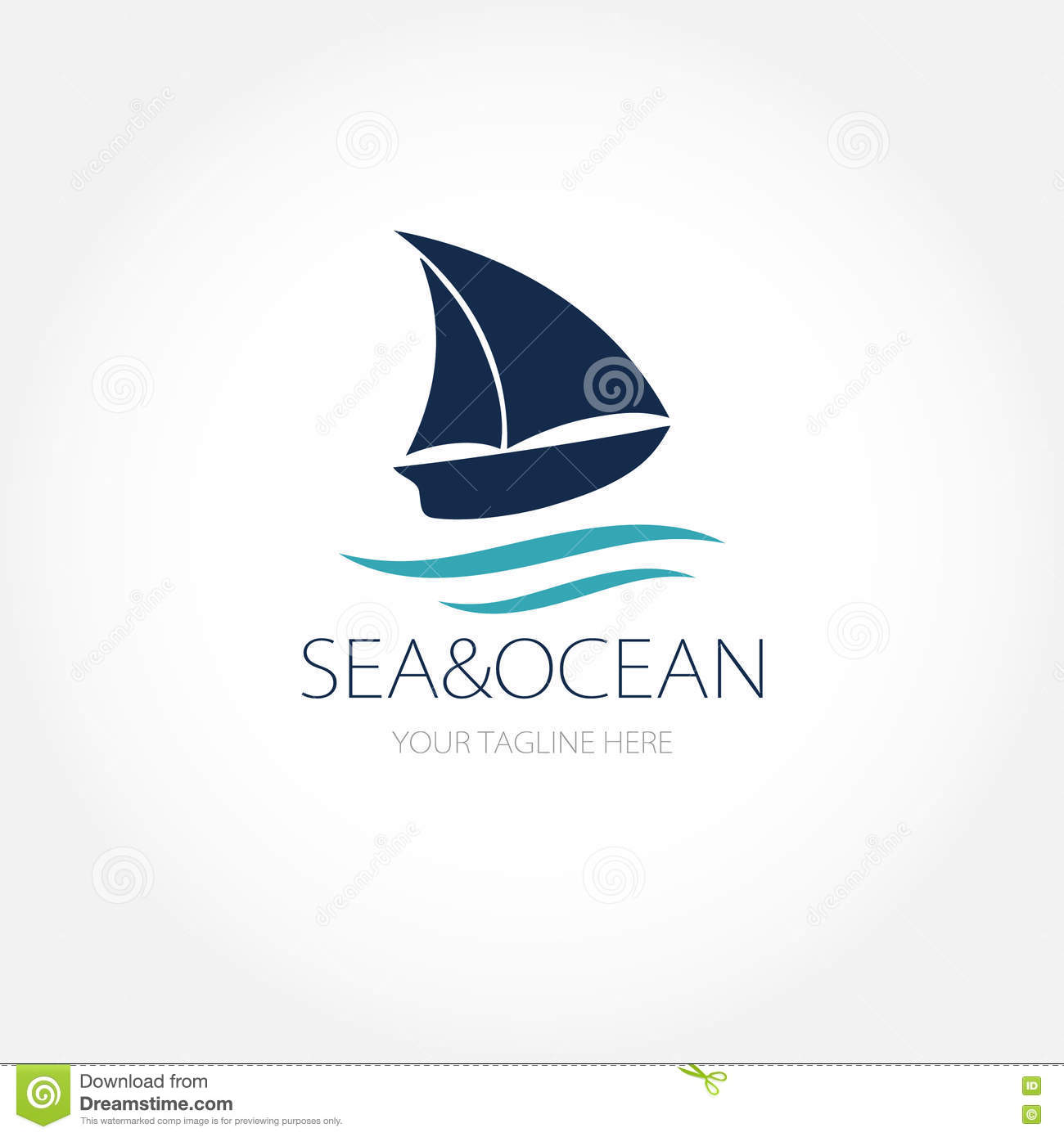 ocean ship or sea boat logo concept small yacht on the sea waves