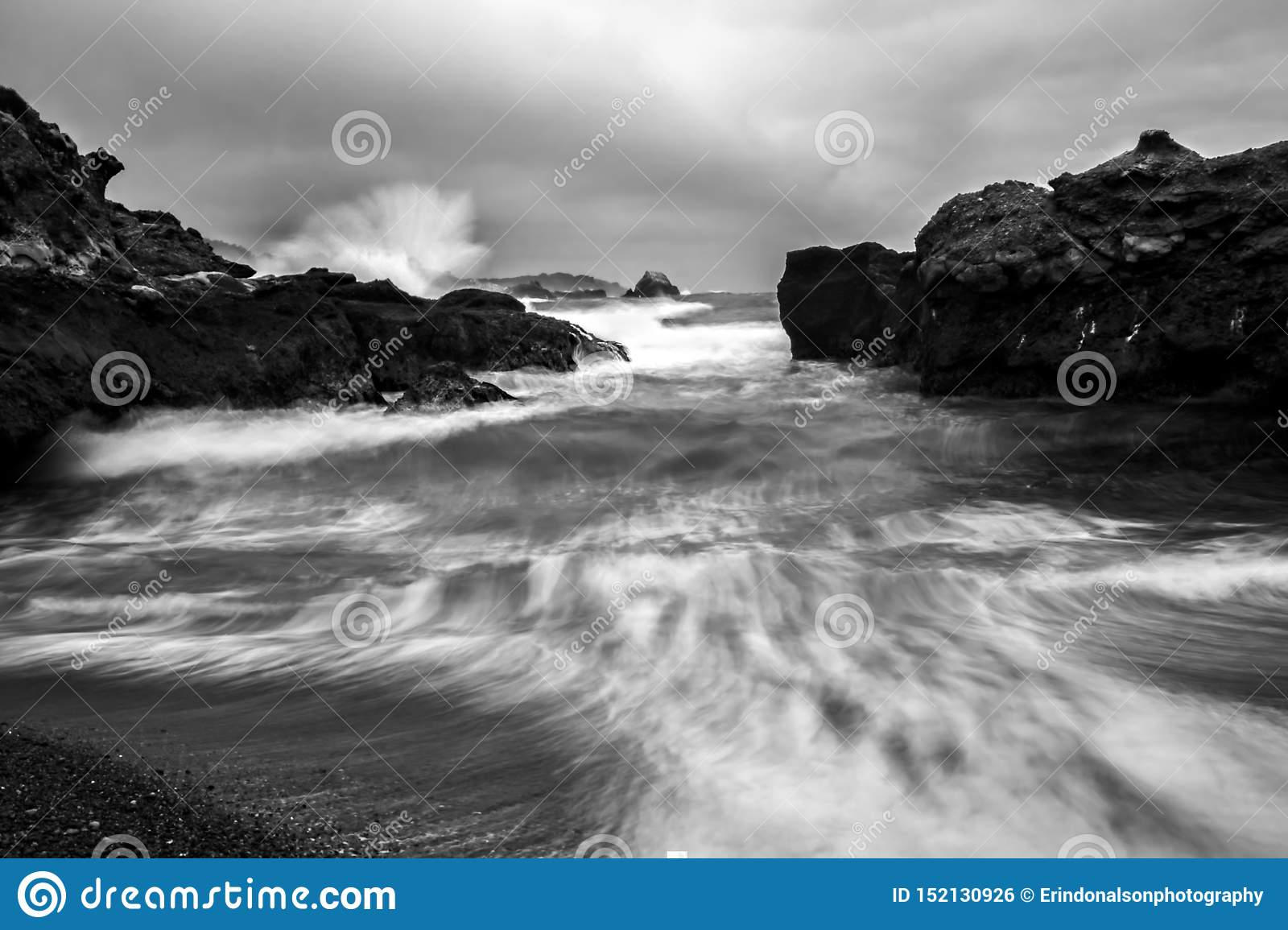Ocean Spray and Surge in Black and White California Coastal Seascape