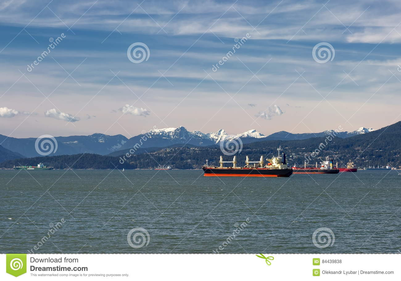 Ocean Tankers In Vancouver Harbor Stock Photo - Image of