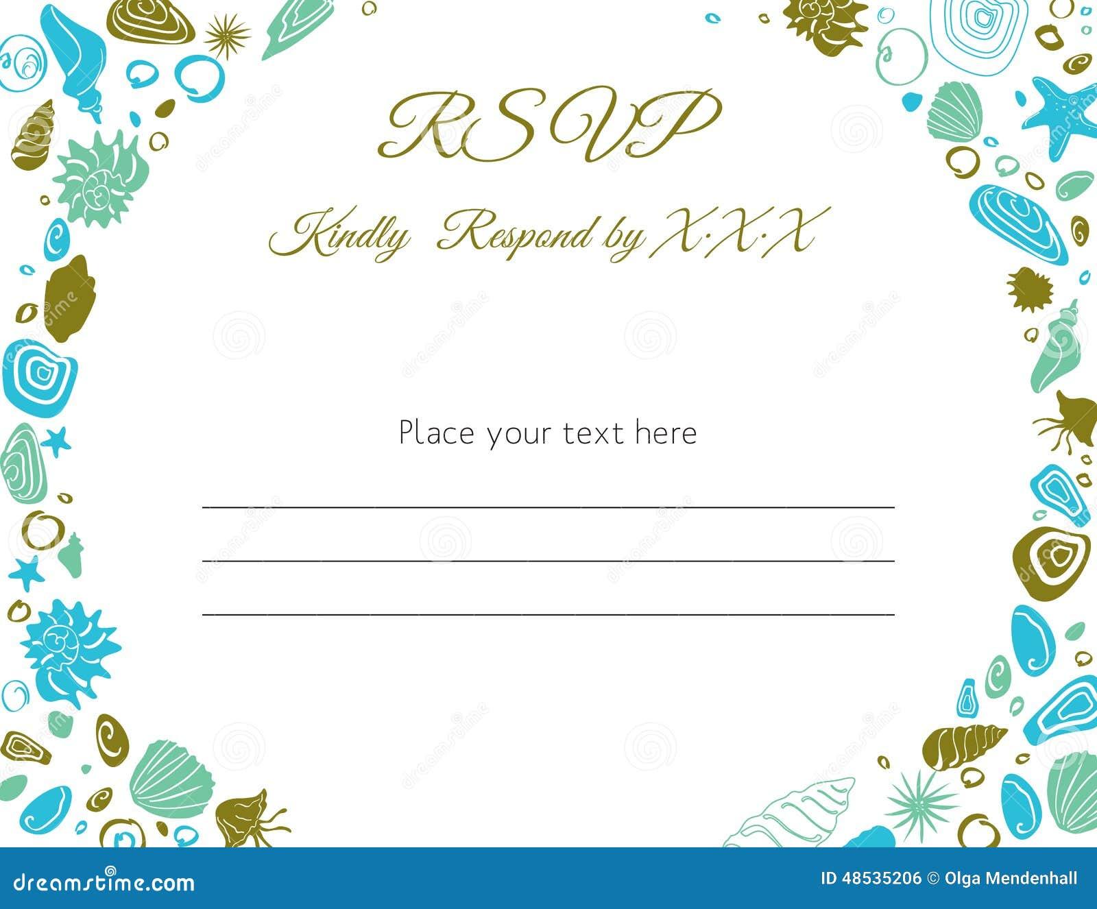 Beach Theme Card Stock: Ocean Theme RSVP Card Stock Vector. Illustration Of Beach