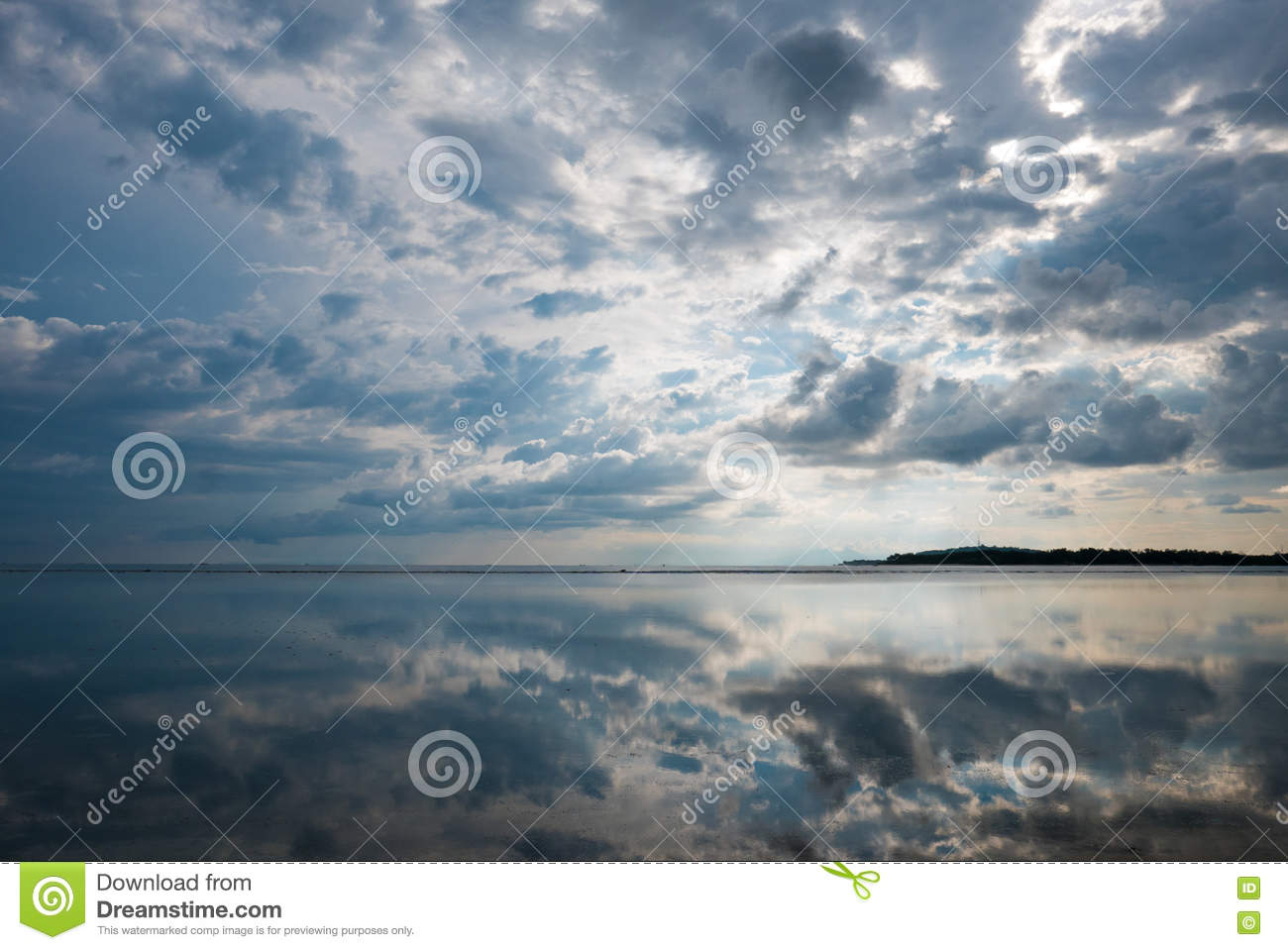 Download Ocean View And Clouds Reflection In The Water In Gili Air Island Stock Photo - Image of horizon, ocean: 71713088
