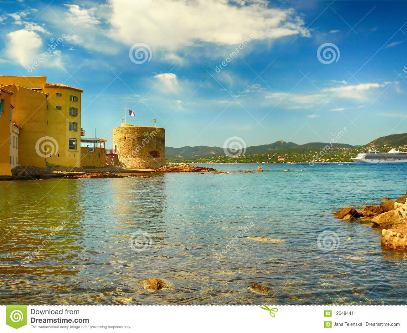 Ocean View In Saint Tropez In France Stock Image Image Of Beach