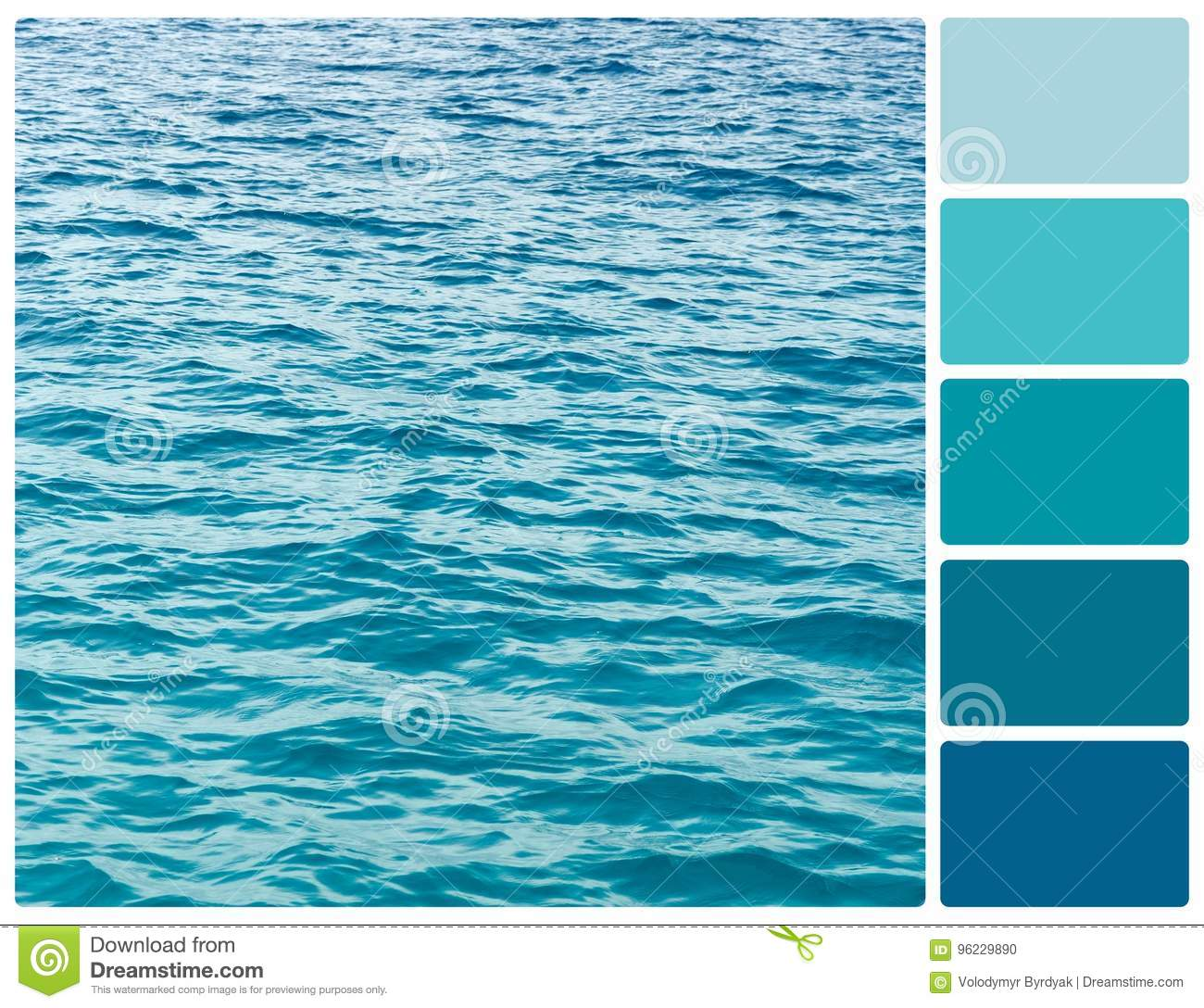 Ocean water texture with palette color swatches