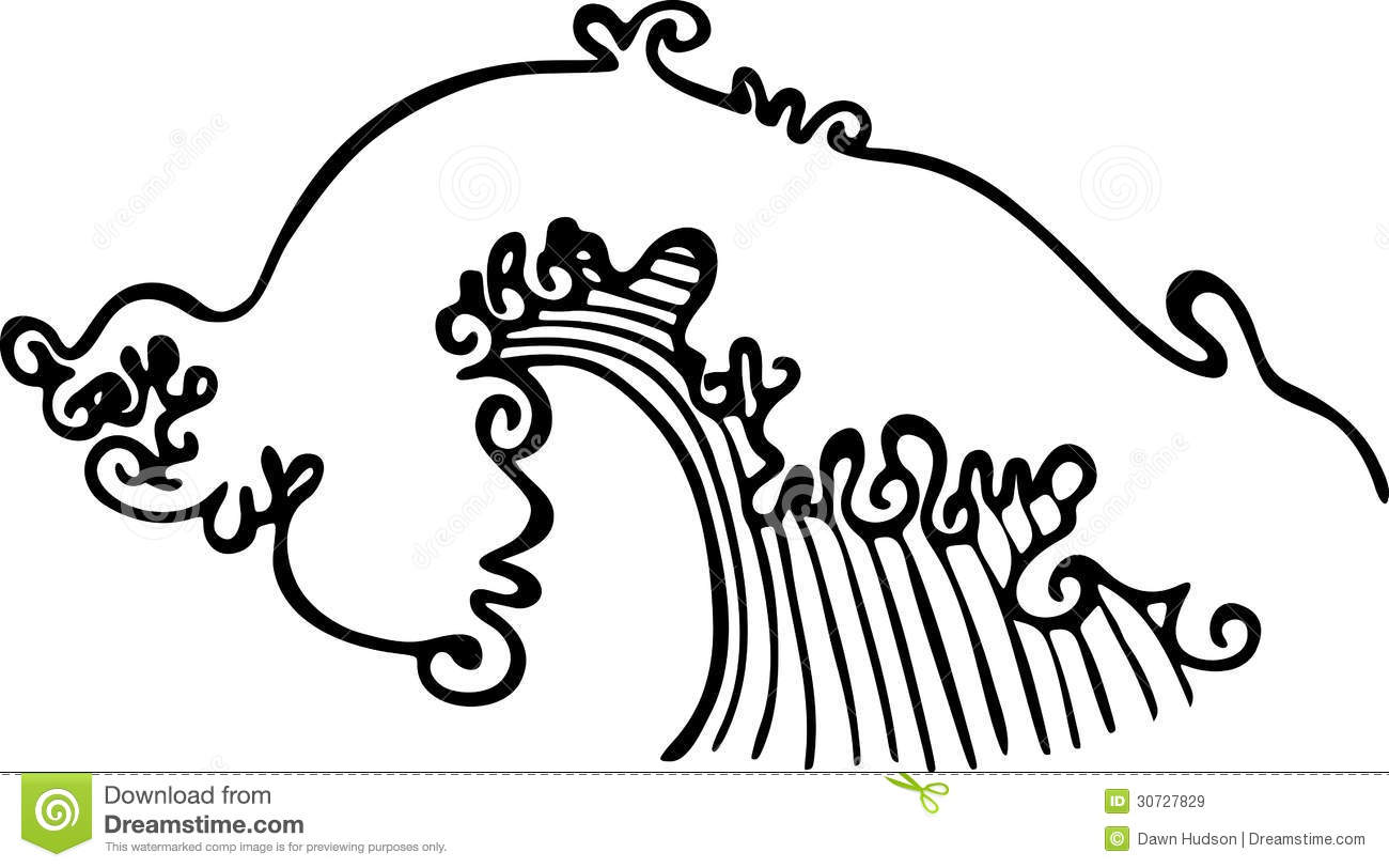 Simple Black And White Line Art : Ocean wave illustration stock