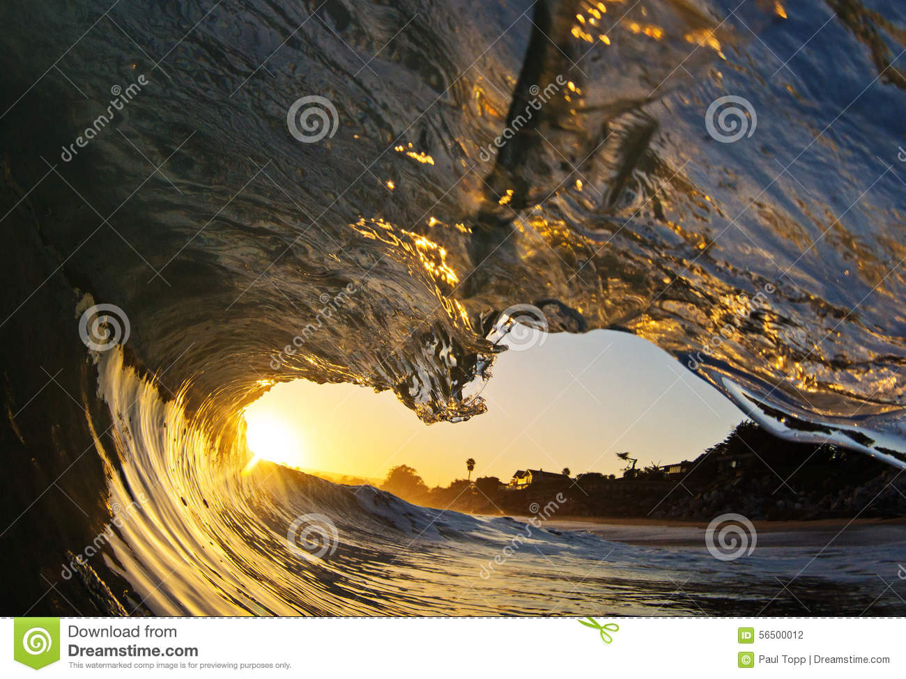 Ocean Wave Tube at Sunset on the Beach in California