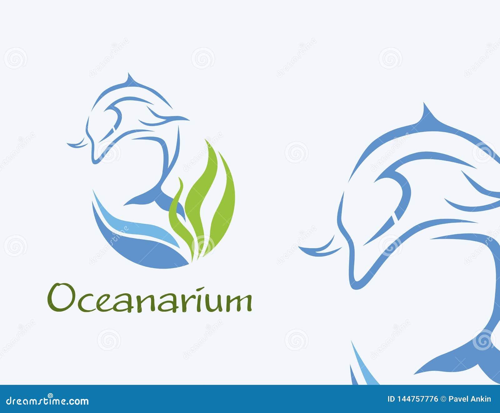 Oceanarium logo - delfin ilustracja w błękicie