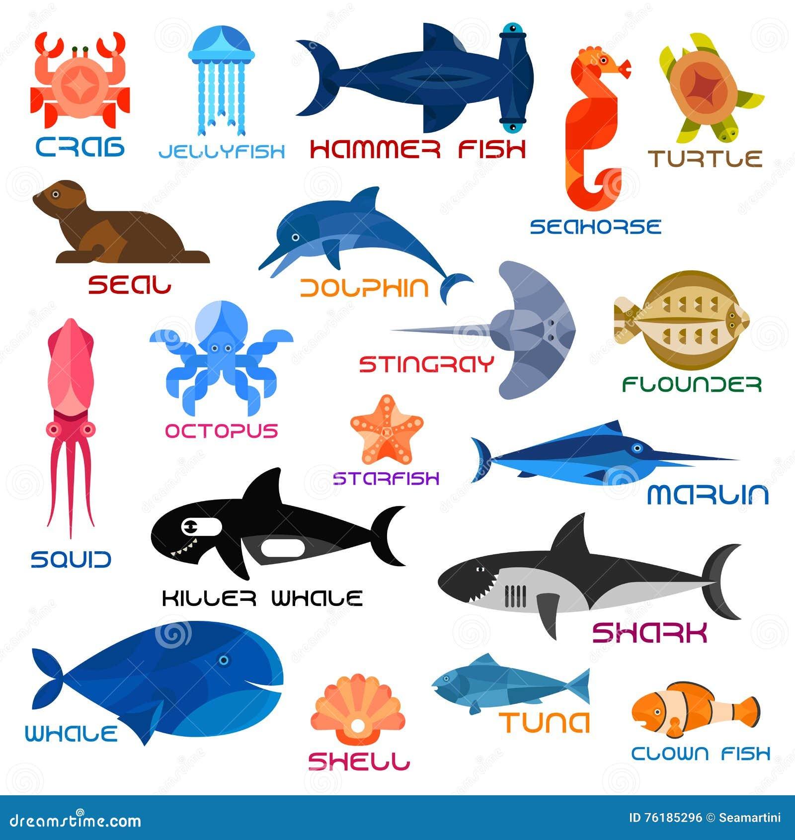 oceanariumozeantiere und fische mit namen vektor