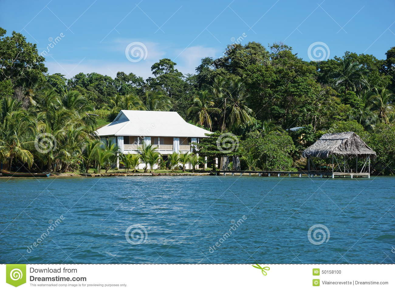 Oceanfront House And Hut Over The Water In Panama Stock Photo Image 50158100