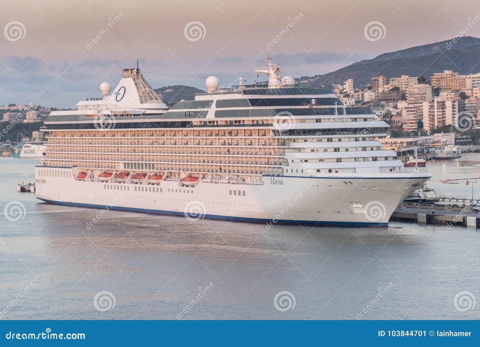 Oceania Cruises Cruise Ship Marina In Palma At Sunrise
