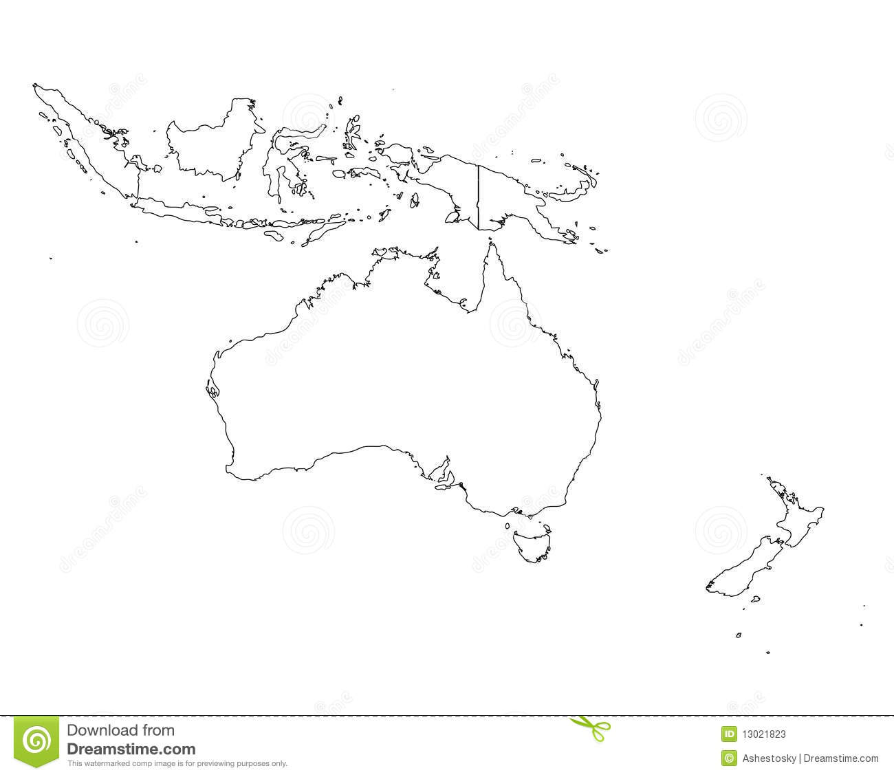 Oceania Outline Map Stock Vector Illustration Of Tropical 13021823