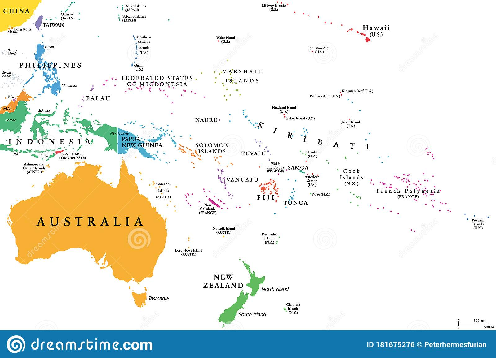 Picture of: Oceania Single States Political Map Stock Vector Illustration Of Papua Hawaii 181675276