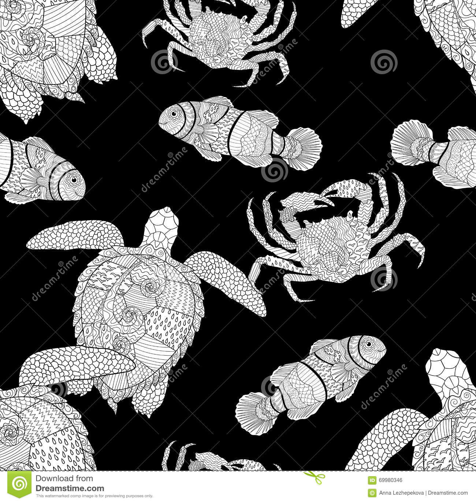 oceanic animals zentangle seamless pattern stock vector