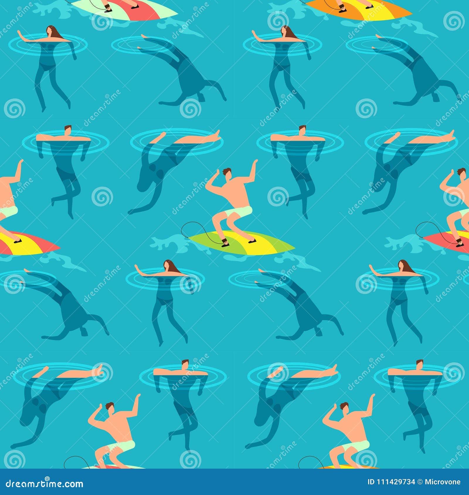 Oceano nadador e de mergulho dos povos Horas de verão no teste padrão sem emenda do vetor do vintage exótico da praia