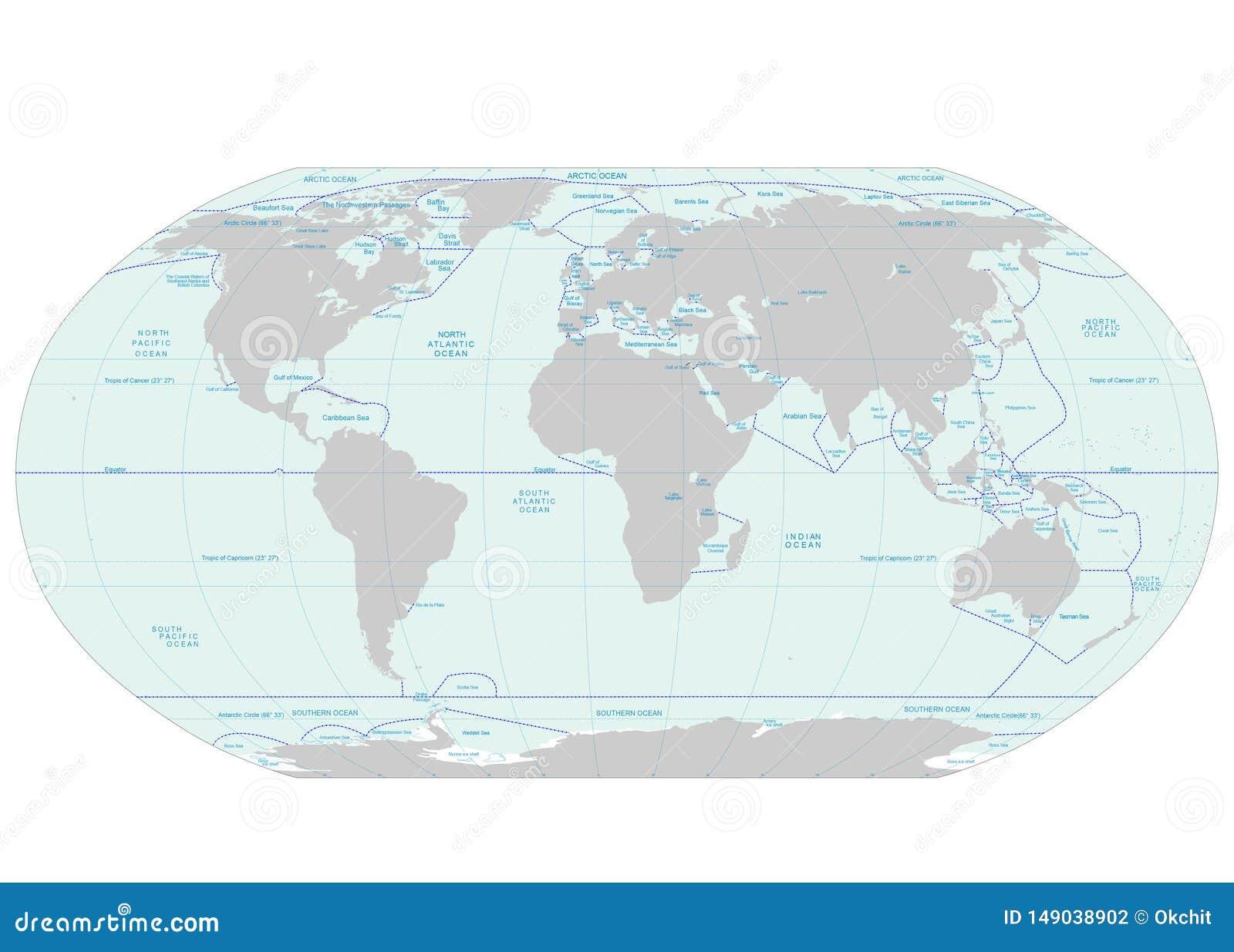 Image of: Oceans And Seas Boundaries Map Stock Vector Illustration Of Australia Europe 149038902