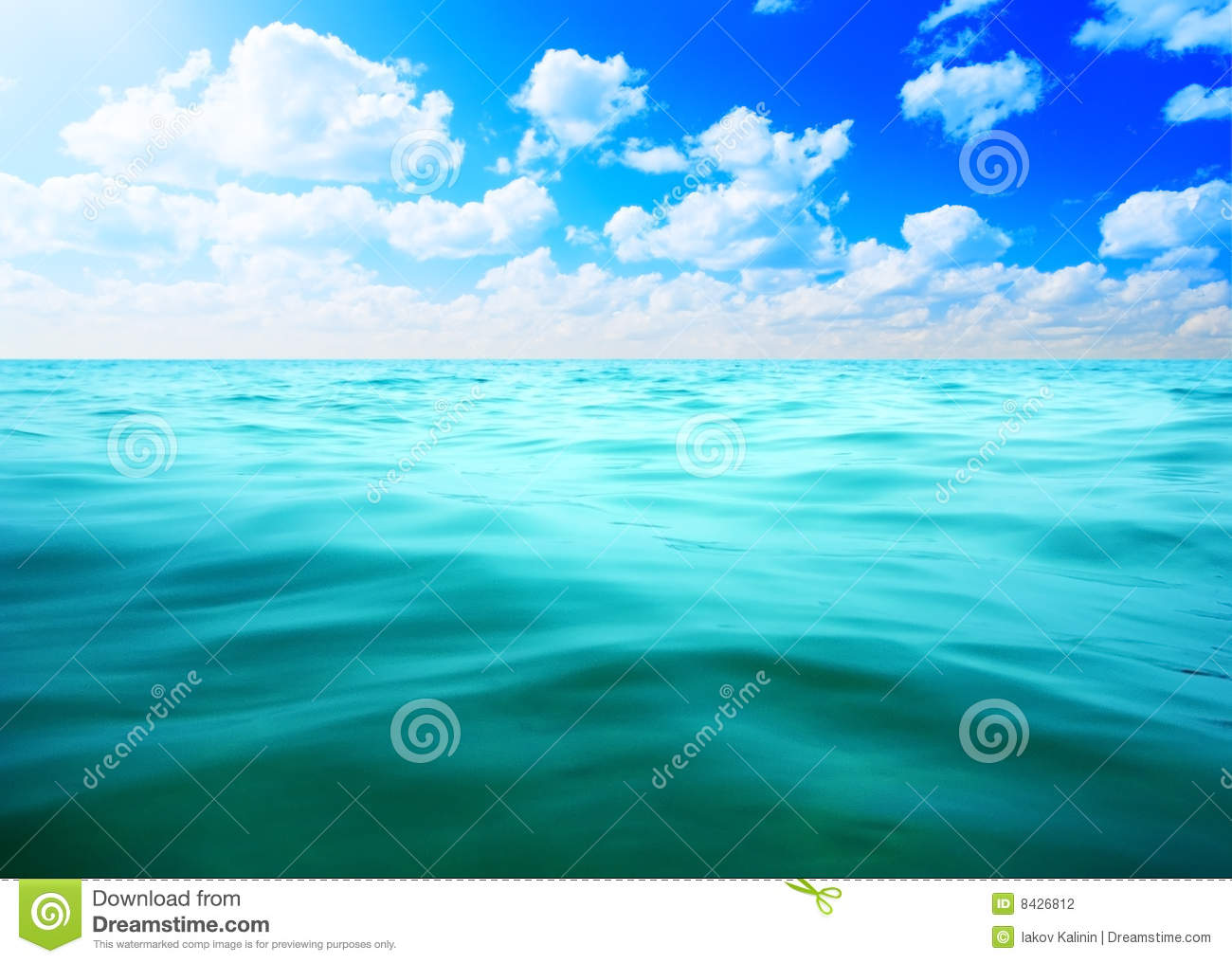 Oceans water and blue sky