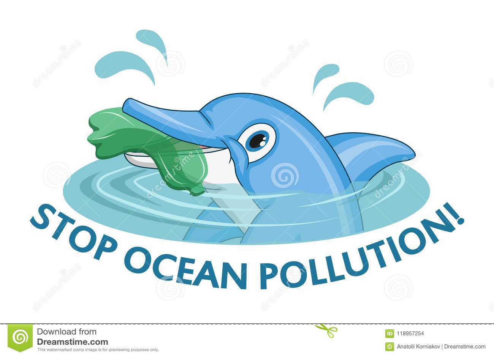 Oceanu zanieczyszczenia pojęcie Delfin pyta przerwie zanieczyszczenie ocean