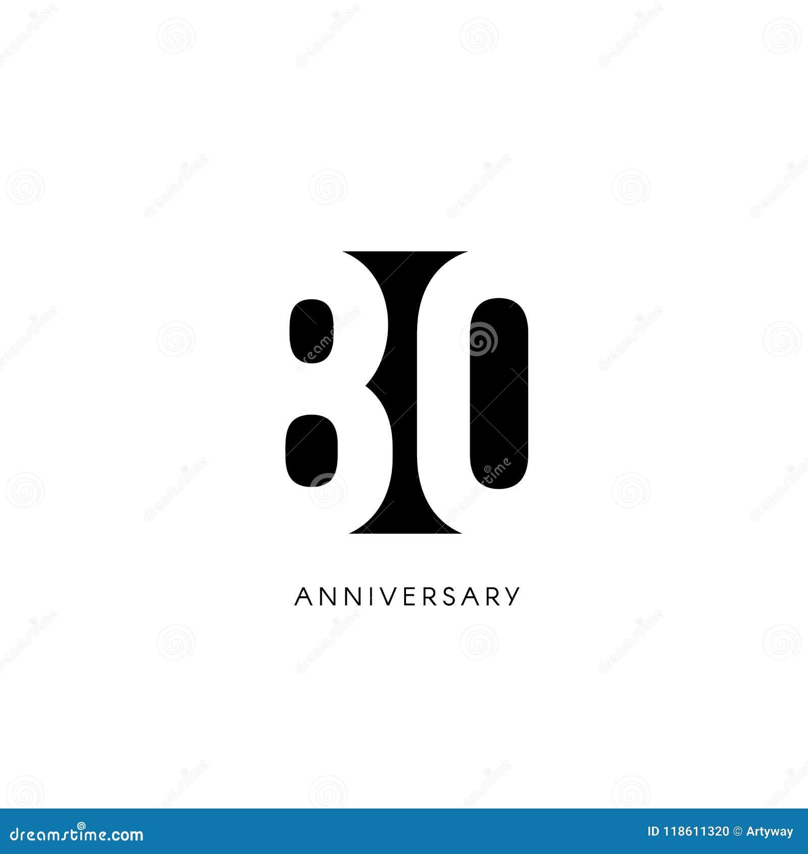 Ochenta Aniversario Logotipo Minimalistic Años Octogésimos