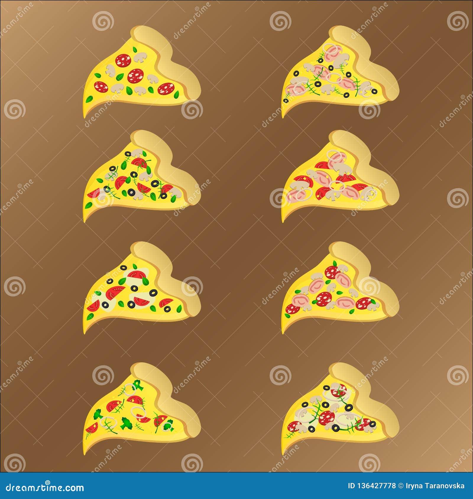 Ocho rebanadas de pizza vegeterian y de la carne con queso