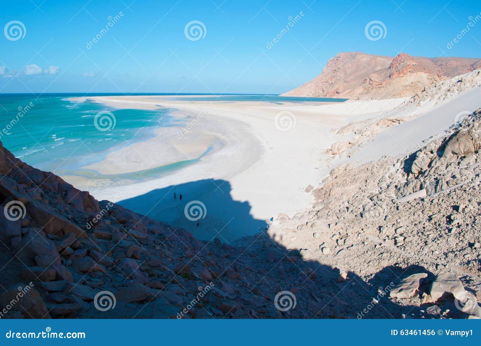 Ochraniający teren Qalansia plaża laguna, Socotra, Jemen