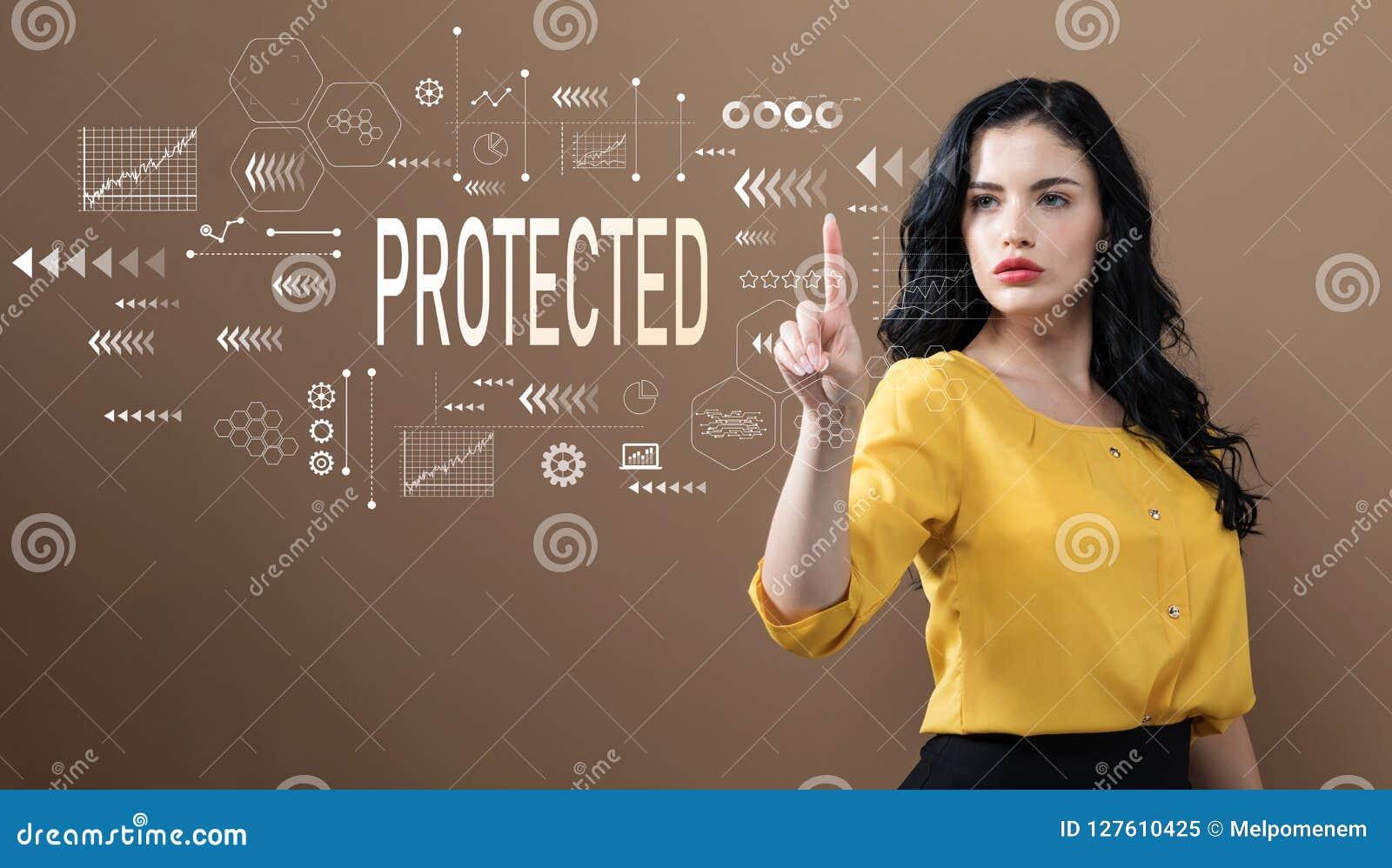 Ochraniający z biznesową kobietą