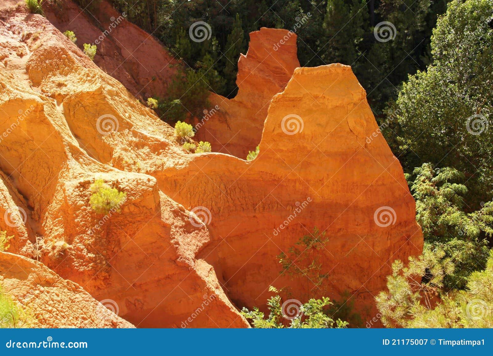 Ochre stone pit near Roussillion, Provence