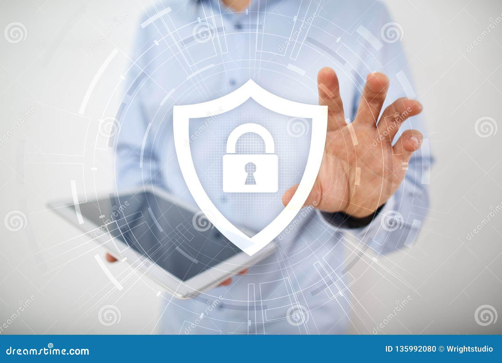 Ochrona danych, cyber ochrona i prywatności pojęcie,