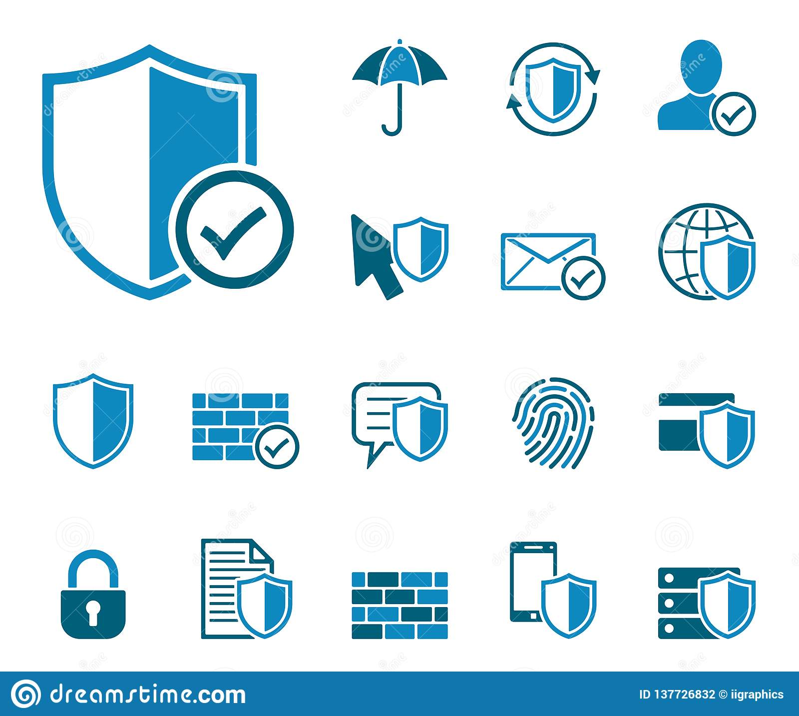 Ochrona danych ikony set