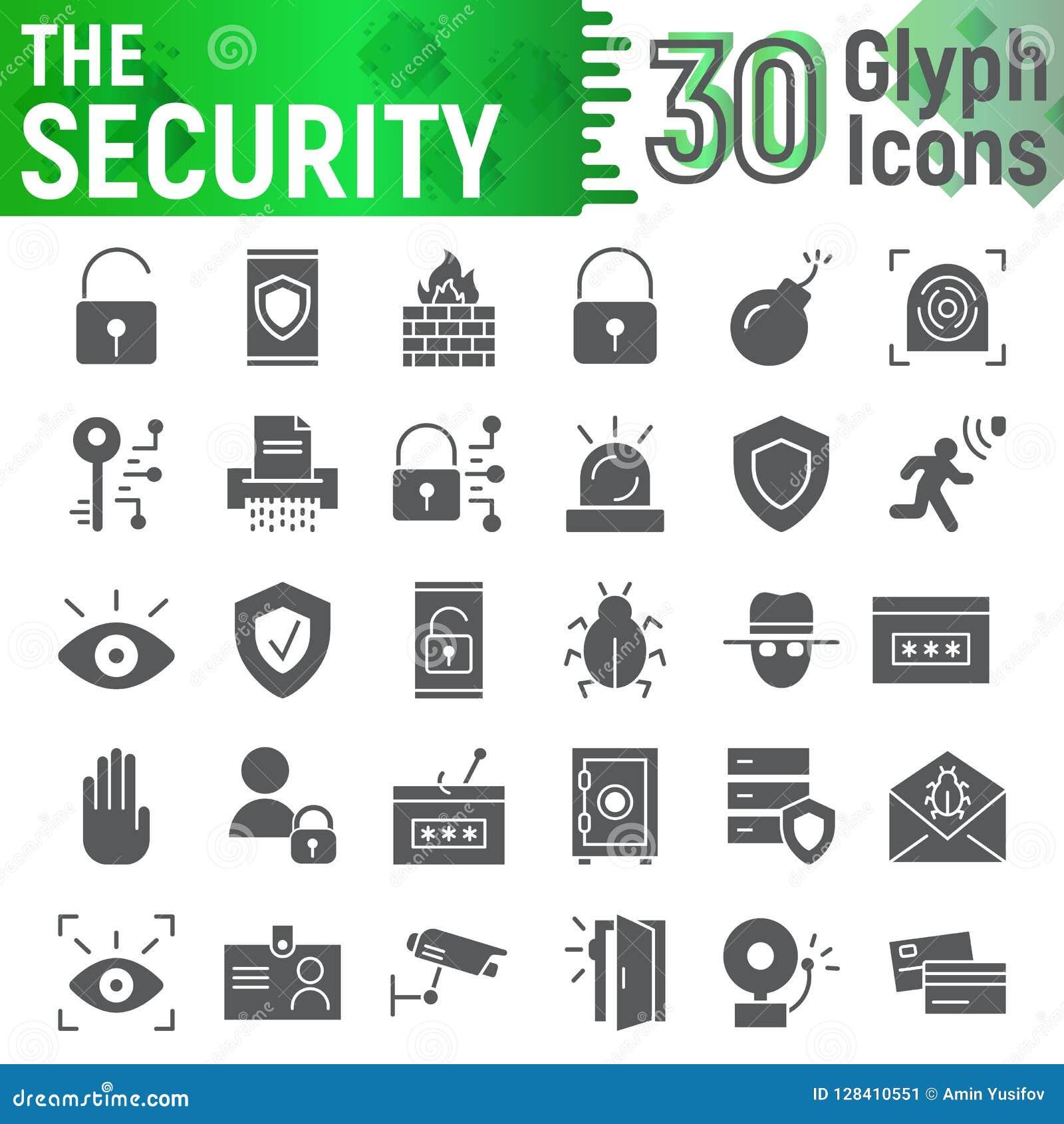 Ochrona glifu ikony set, ochrona symbole kolekcja, wektor kreśli, logo ilustracje, obrona znaki