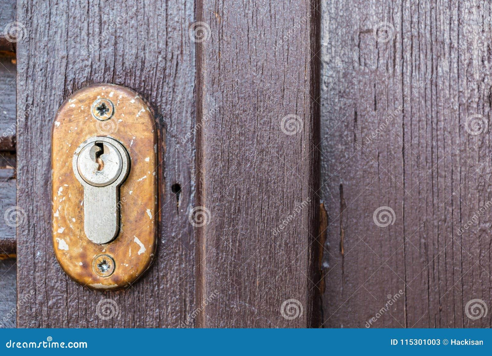 Ochrona kędziorek dla starego drewnianego drzwi w ogródzie