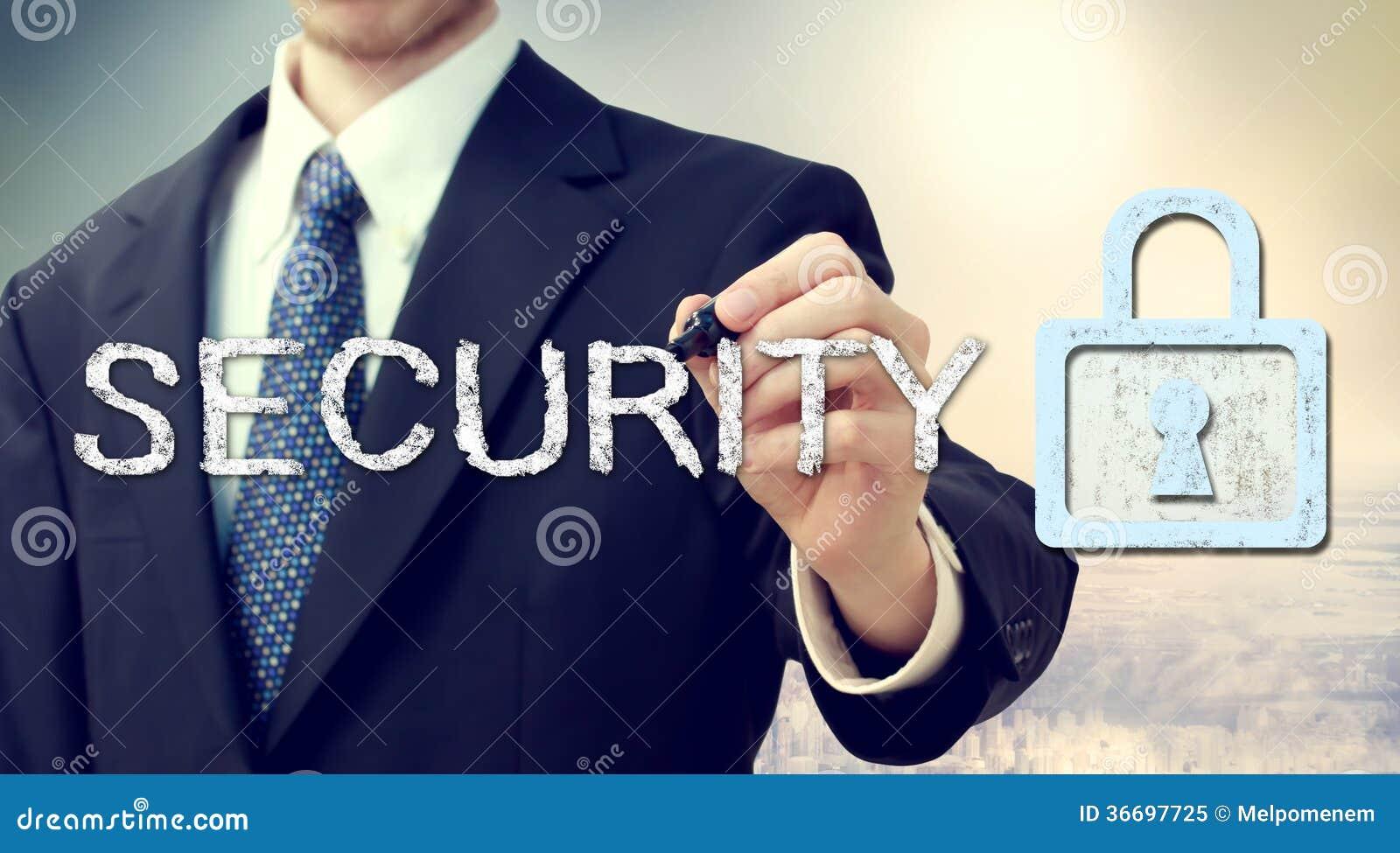 Ochrona klucza kędziorek z biznesmenem
