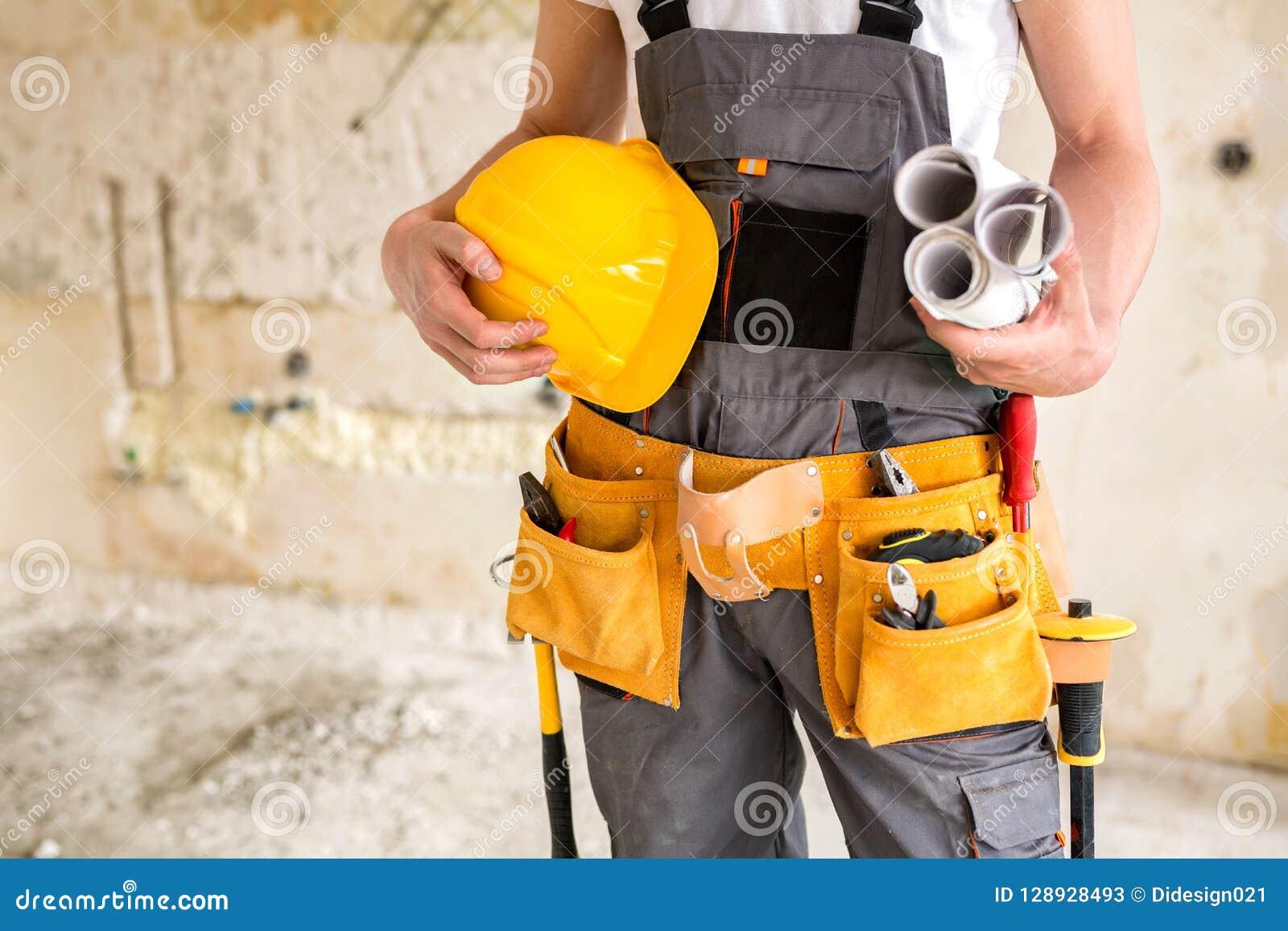 Ochronna przekładnia, pracujący narzędzia, projekty i hełm,
