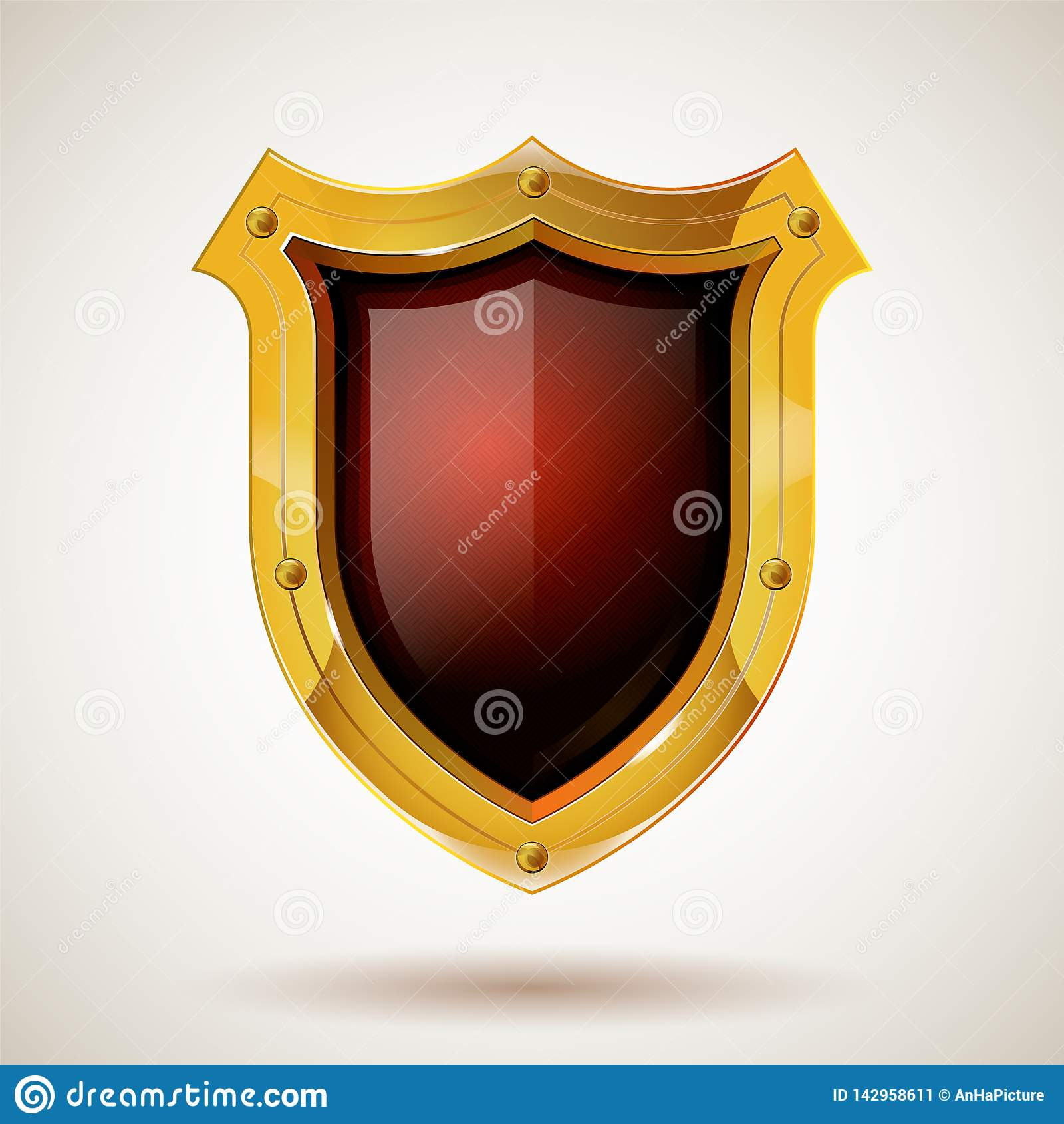 Ochronna stal strażnika osłona z zbawczym szkłem Realistyczny styl Odosobniony tło