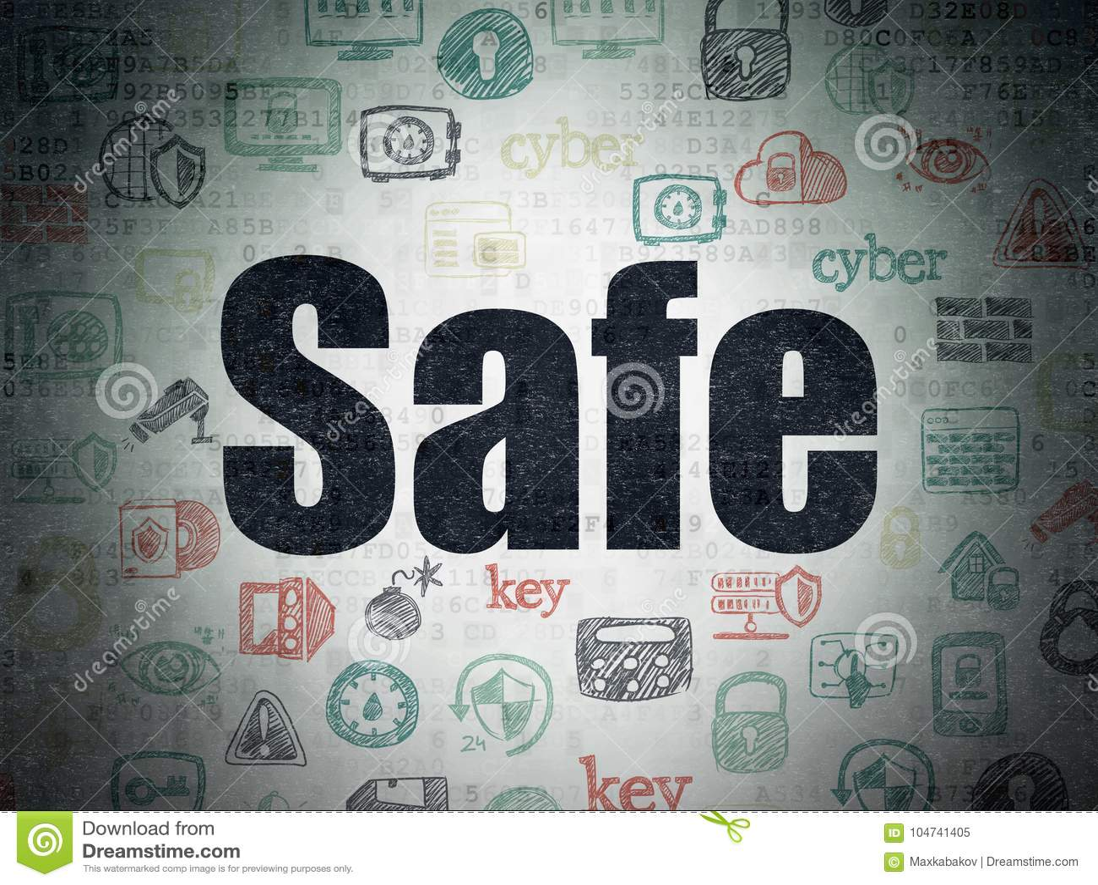 Ochrony pojęcie: Skrytka na Cyfrowych dane papieru tle