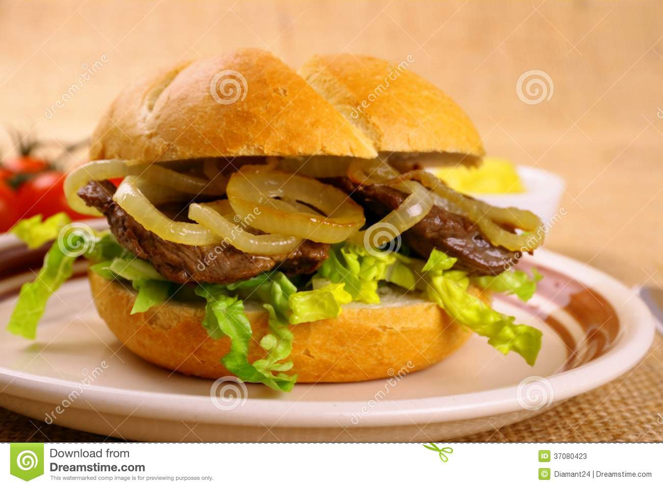 ochsen semmel grilled beef with onion rings in bun stock photos image 37080423. Black Bedroom Furniture Sets. Home Design Ideas