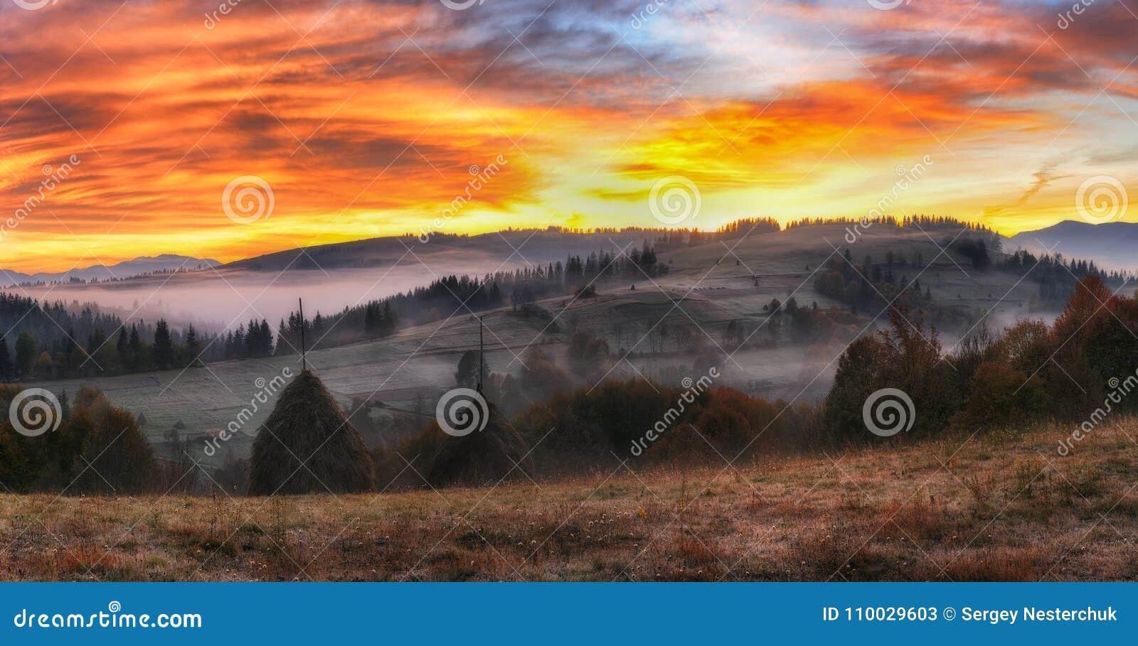 Ochtend een schilderachtige dageraad in de Karpatische Bergen