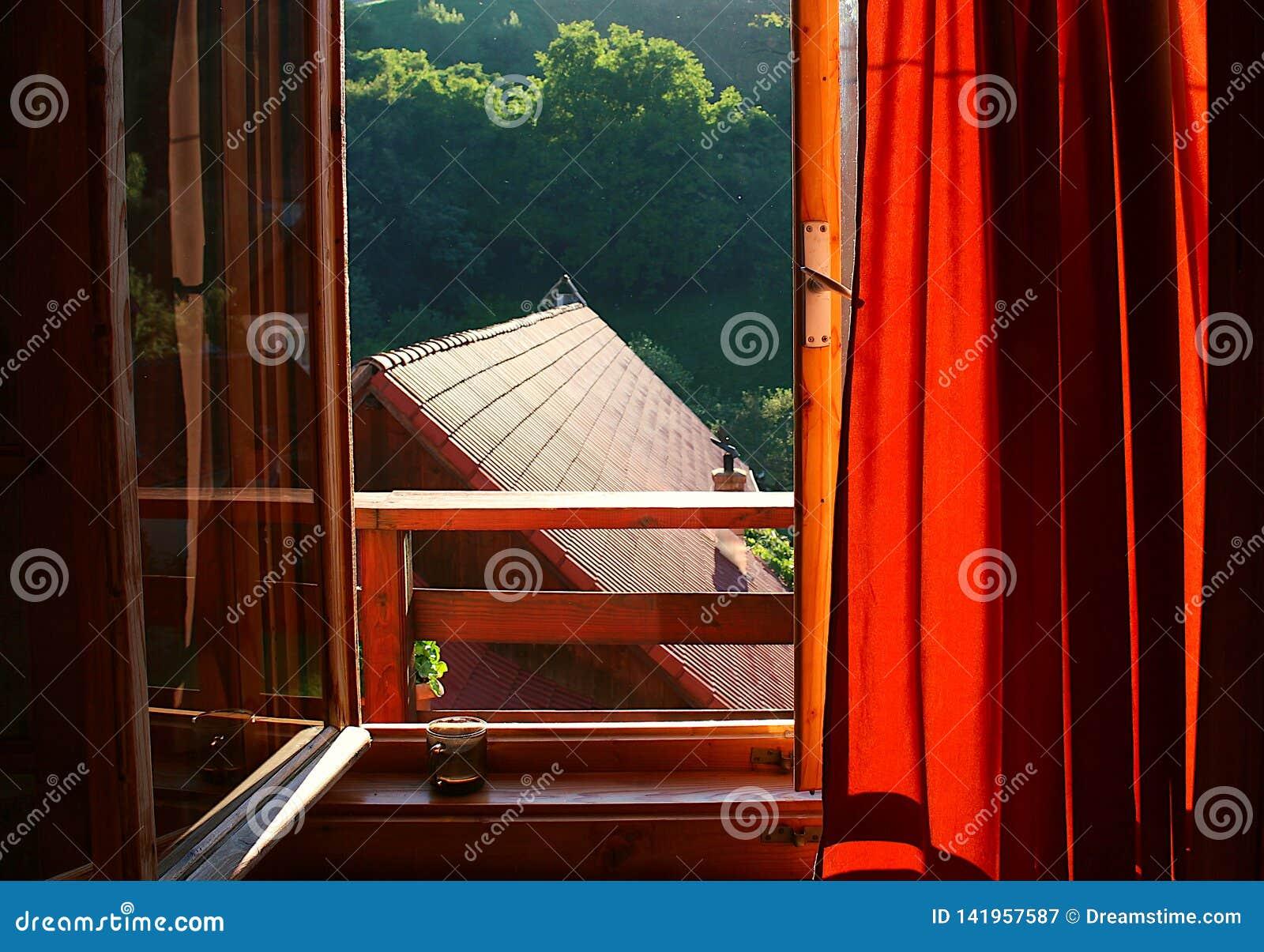 Ochtendzon die door het venster met een kop van koffie op het venster nog gluurt