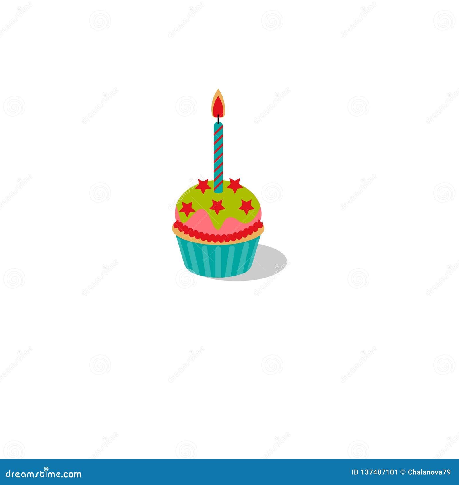 Också vektor för coreldrawillustration Födelsedagmuffin med det brännande stearinljuset Muffin med isläggning och stjärnor