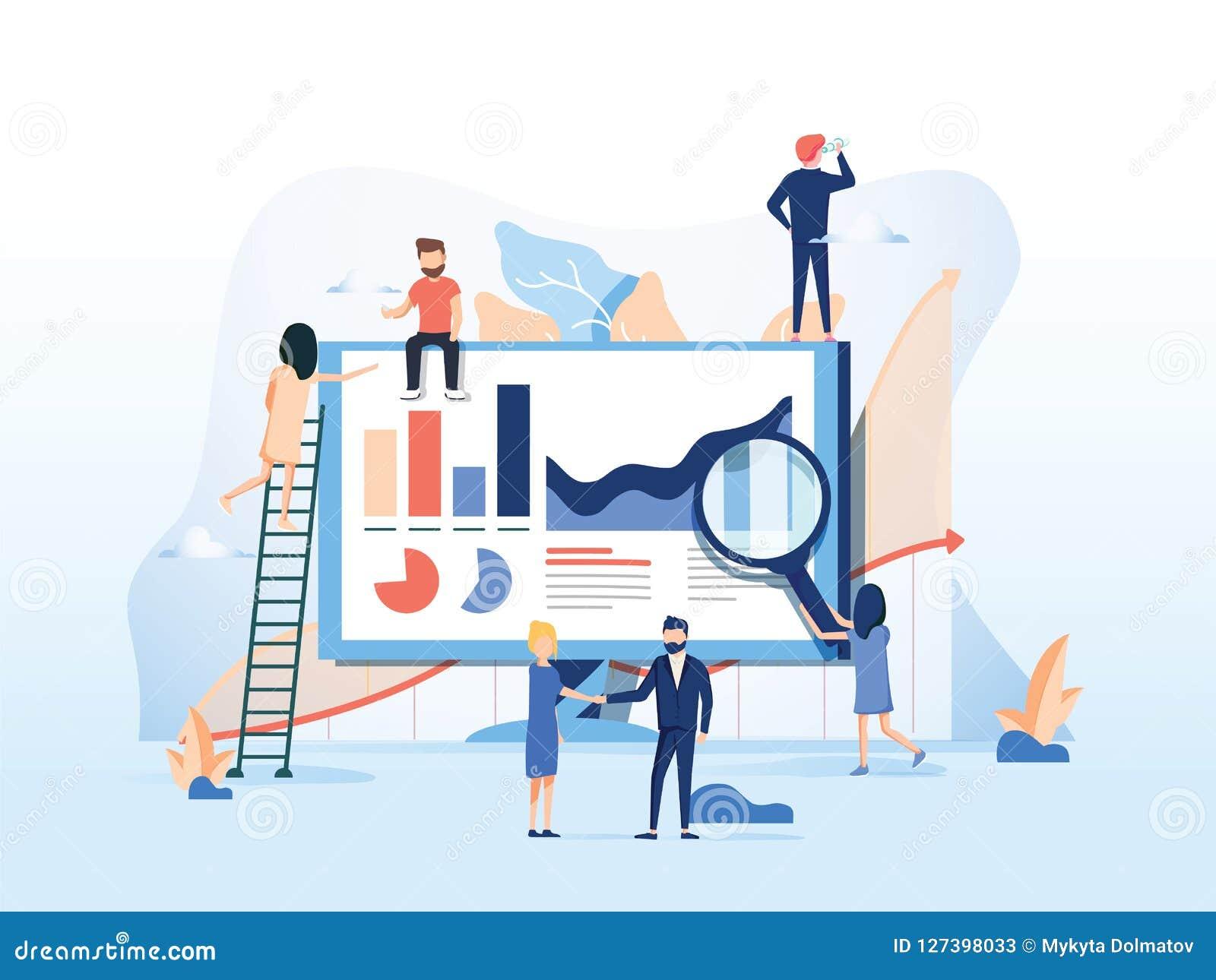 Också vektor för coreldrawillustration idérik teamwork Folket bygger ett affärsprojekt på internet Bildskärmskärmen