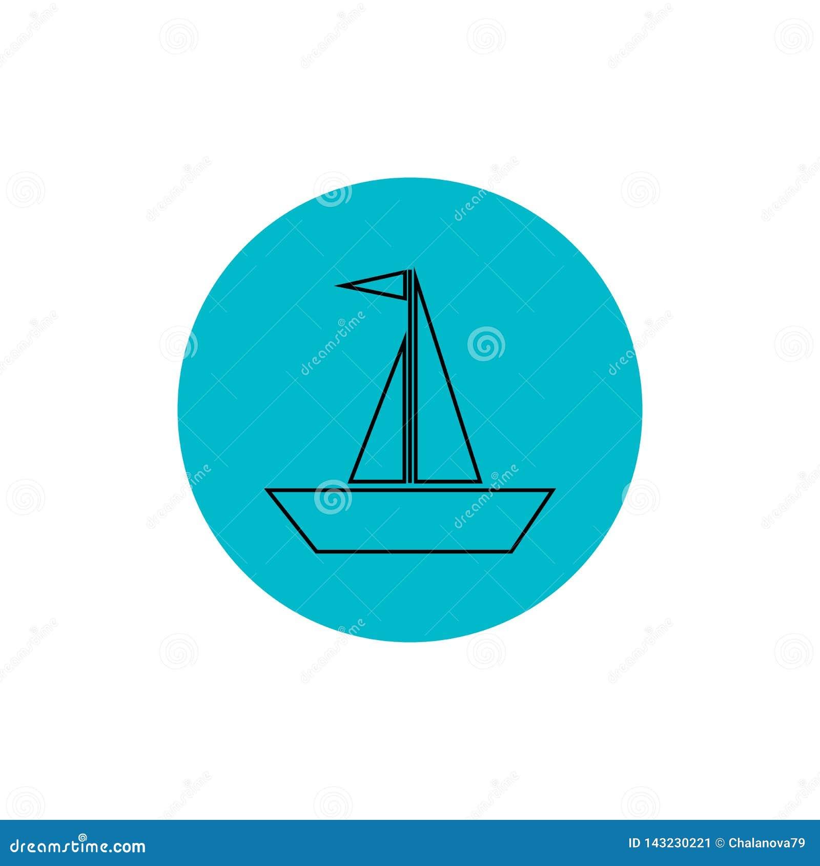 Också vektor för coreldrawillustration Linje symbol för seglingskepp Enkel skepplogo på rund blå bakgrund EPS10
