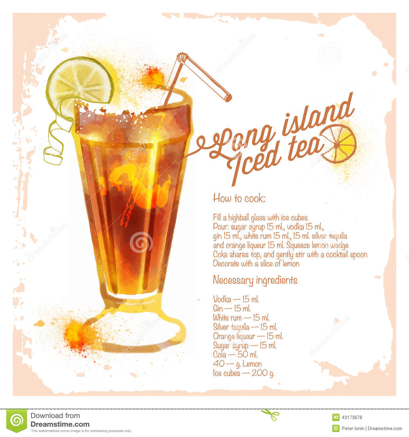 Ocktails long island iced tea stock vector for Iced tea cocktail recipes