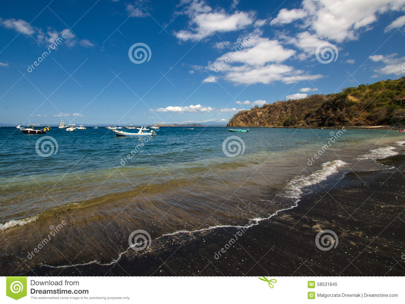 Ocotal Black Sand Beach In Guanacaste