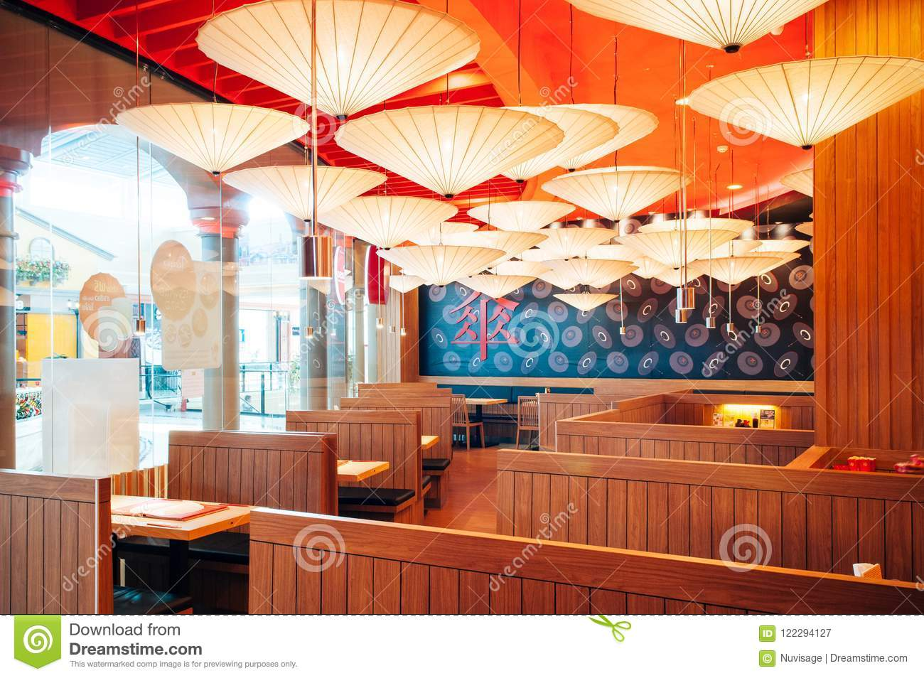 Vibrant Japanese Restaurant Interior Decorated Ceiling With Pap Editorial Photography Image Of Modern Architectural 122294127