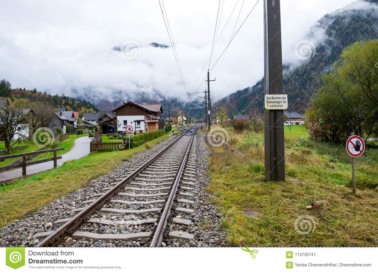Railway across middle of Obertraun town. The weather was so cloudy and ready to rain any times.