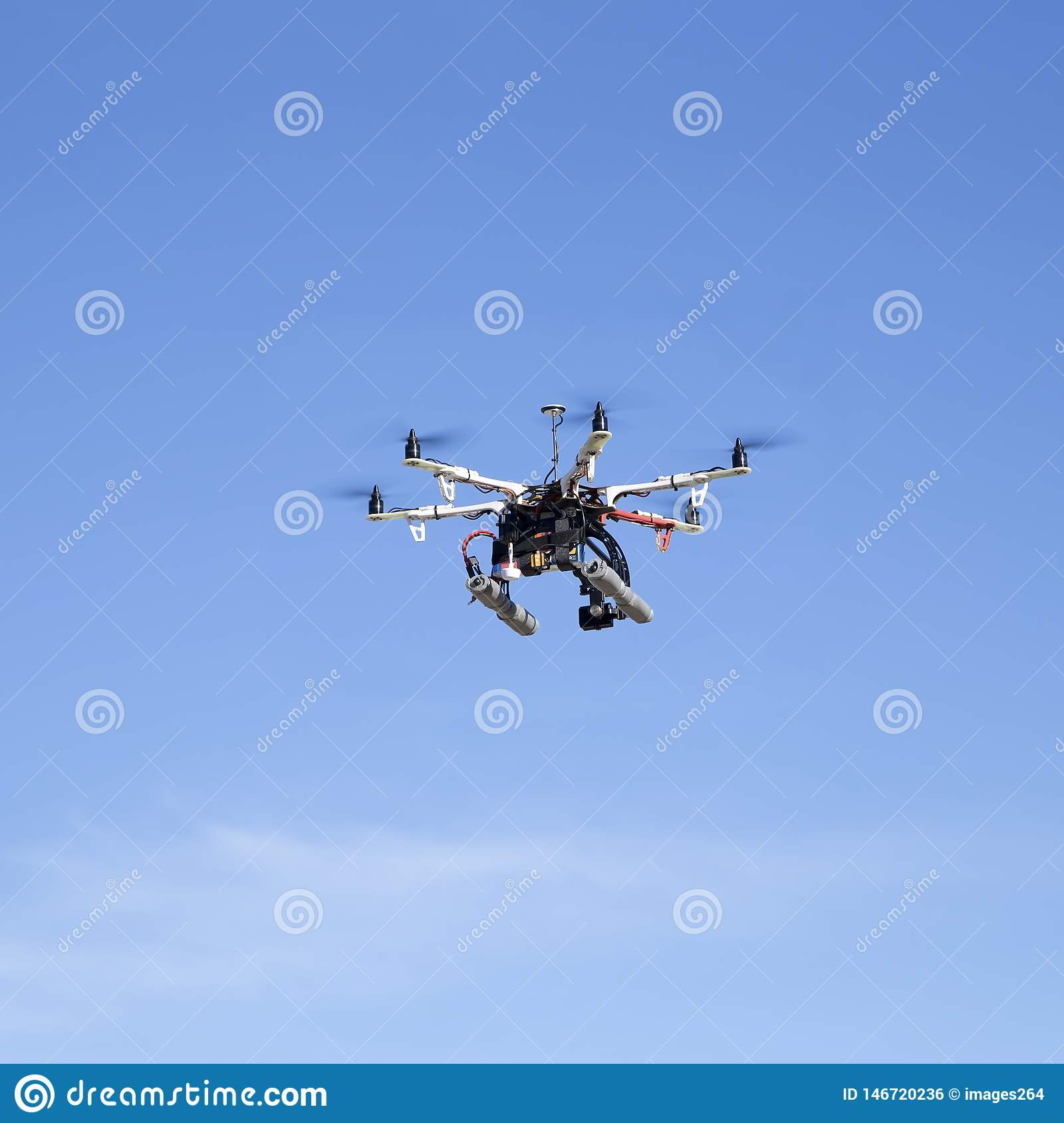 Octacopter drone flying