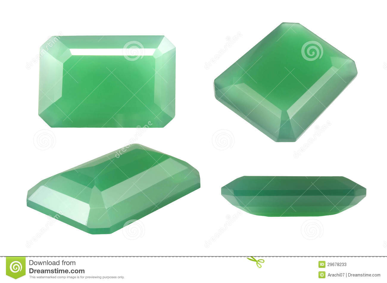 Green Natural Chalcedony  Octagon shape Green Octagon