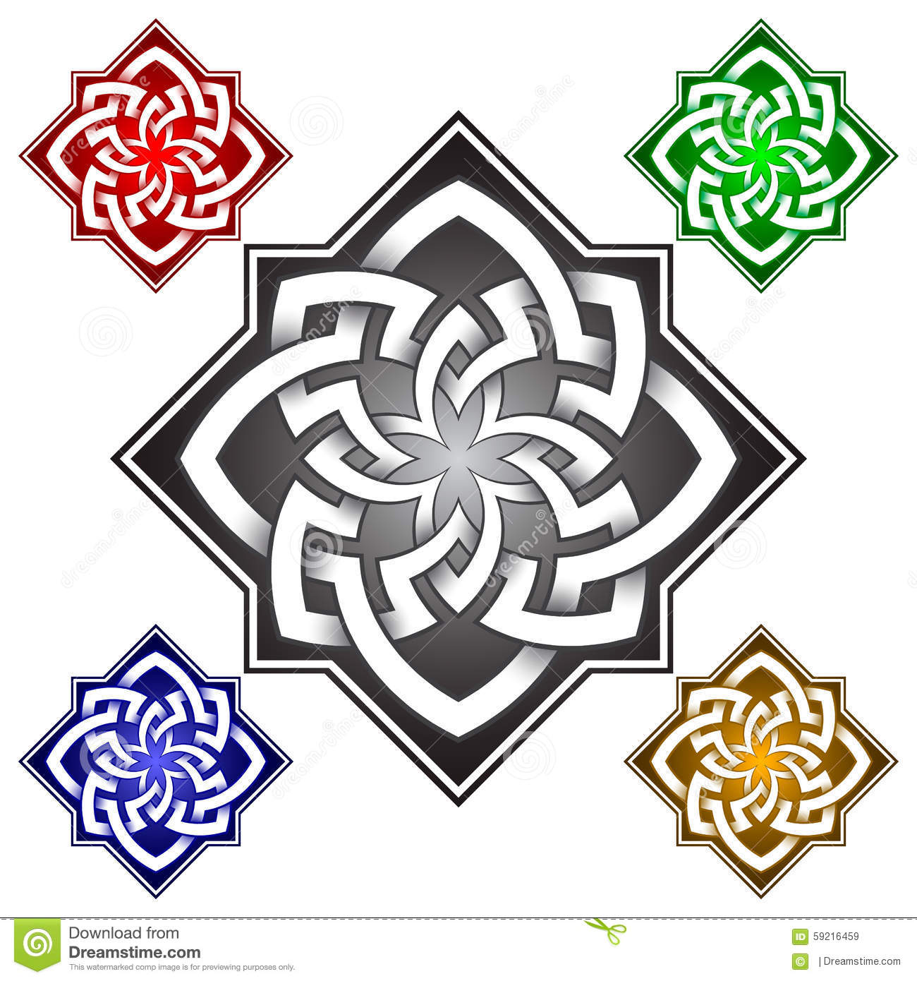 Octagonal Logo Template In Celtic Knots Style Stock Vector
