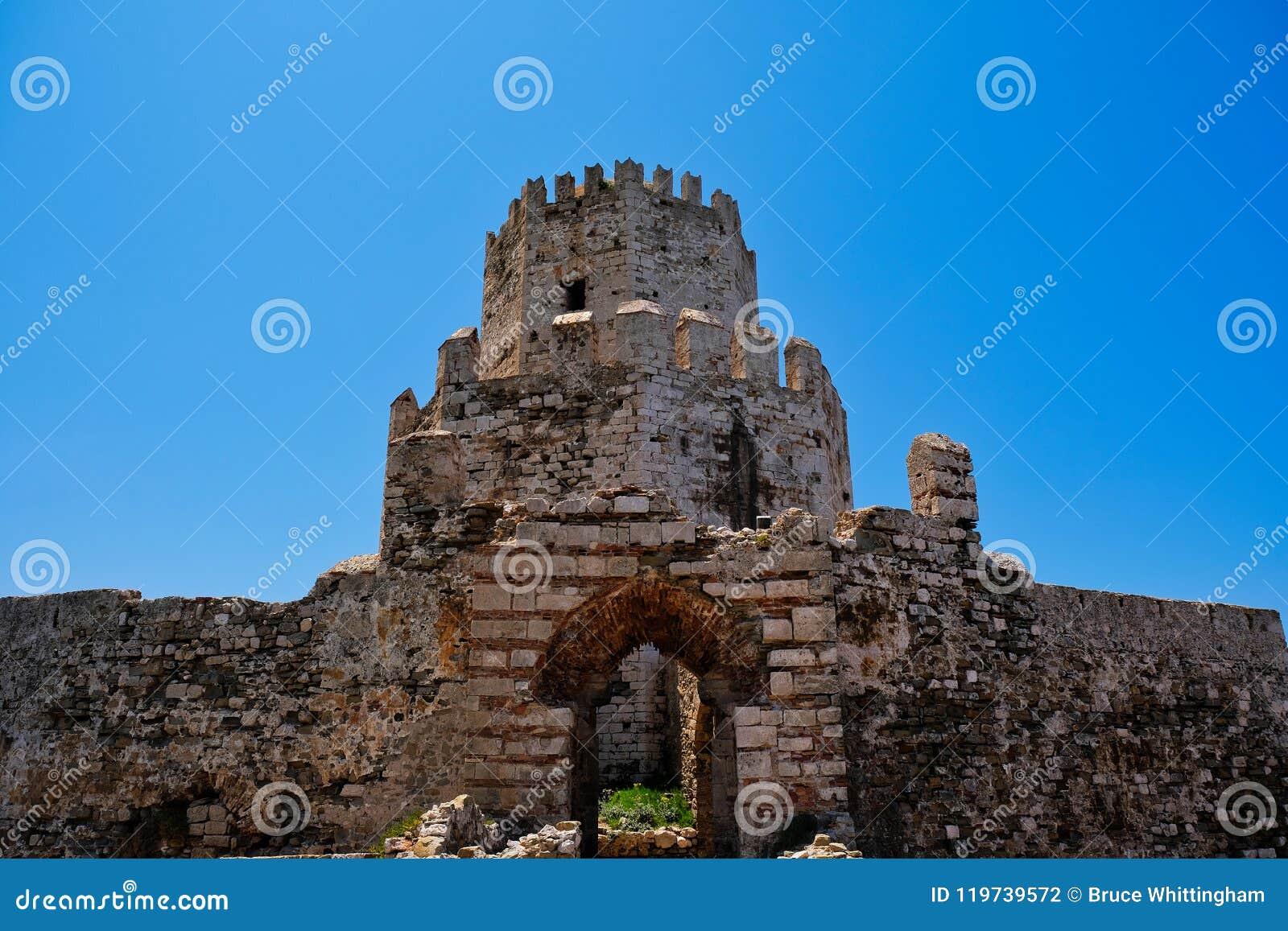 Medieval Methoni Castle Tower, Peloponnese, Greece